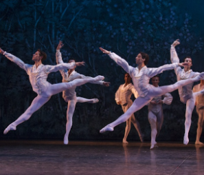 Male ballet dancers jumping