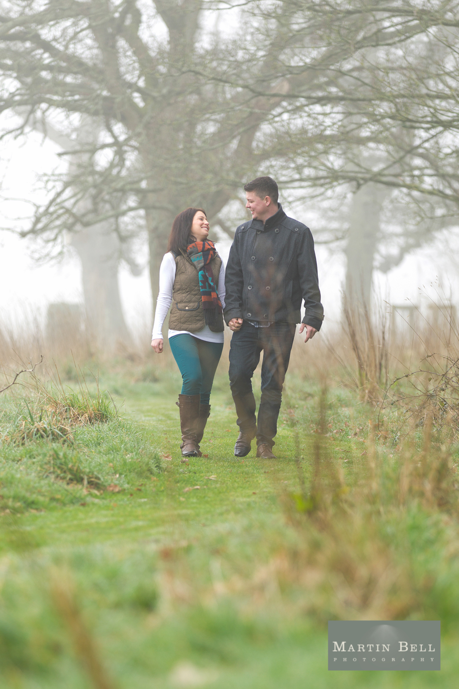 Wedding photography East Close Hotel, Christchurch, New Forest. Laura and Jamie's engagement photo shoot in the mist - Martin Bell photography