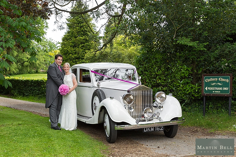 Vintage Rolls Royce wedding car at All Saints, Chalbury - Dorset wedding photographers by Martin Bell Photography