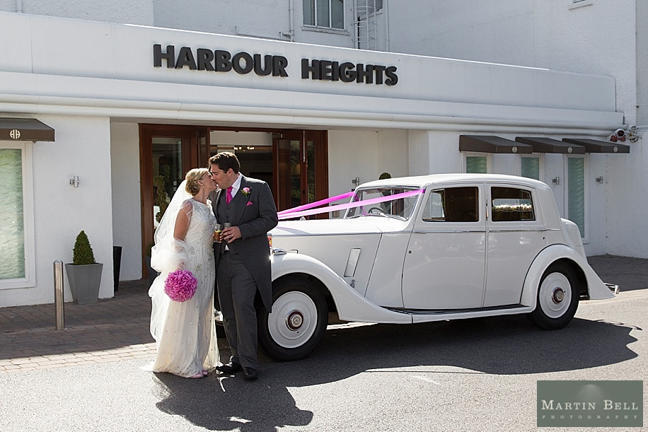 Vintage Rolls Royce wedding car at Harbour Heights Hotel by Dorset wedding photographers, Martin Bell Photography