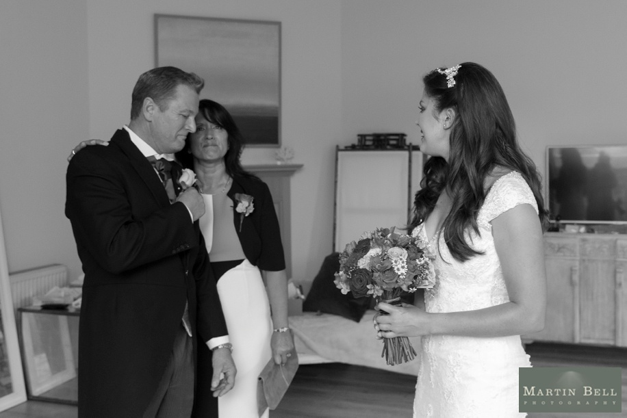 Manor Barn Buriton wedding photography - Father see's the Bride for the first time on her wedding day