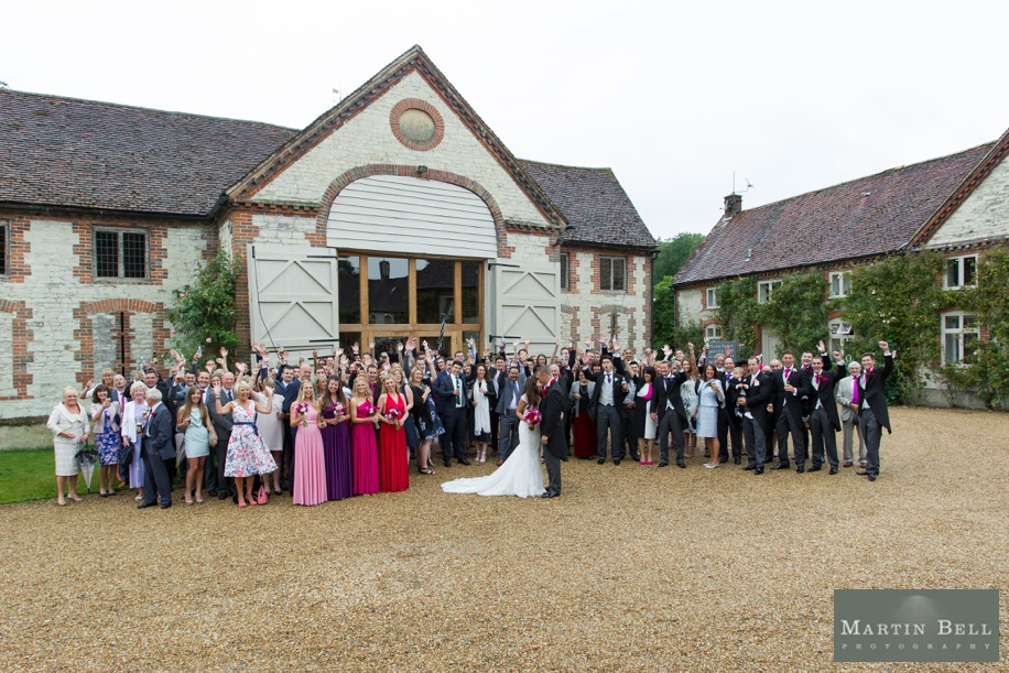 Fun Manor Barn wedding photography - cool group photograph of all guests