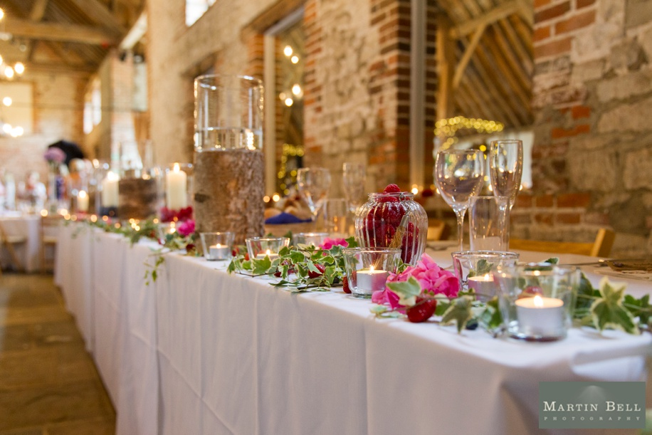 cool wedding breakfast ideas for a barn venue in Hampshire