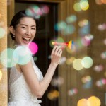 Fun and cool Bridal portrait using bubbles at a Manor by the Lake wedding - Martin Bell Photography