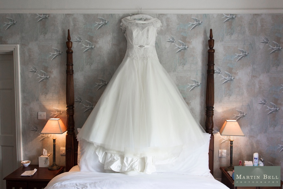 Beautiful wedding dress in Winchester by Hampshire wedding photographer, Martin Bell Photography