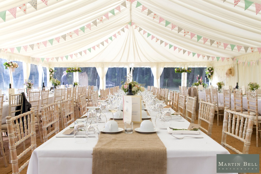 Marquee wedding ideas in Winchester Hampshire - bunting
