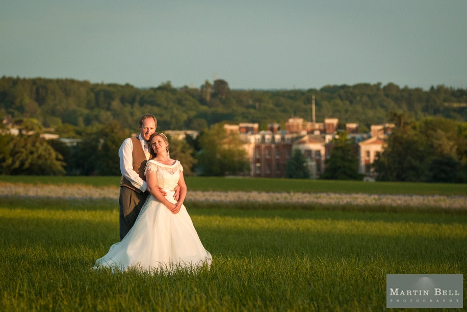 Marquee wedding - Winchester - Sunset - Bride and Groom - Martin Bell Photography