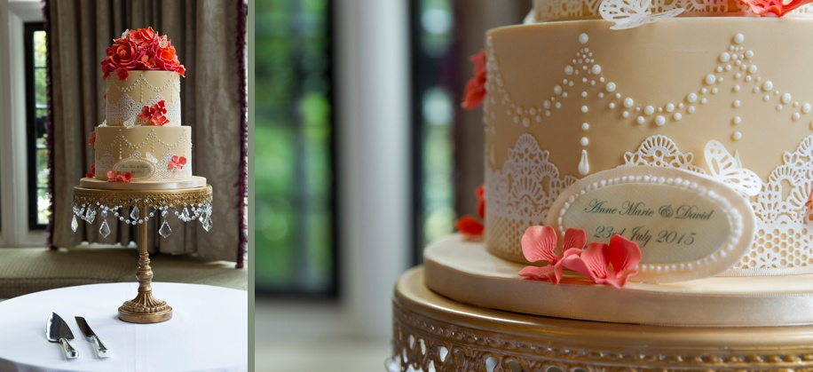 Gorgeous coral and gold wedding cake in The Keepers room on a wedding day at Rhinefield House