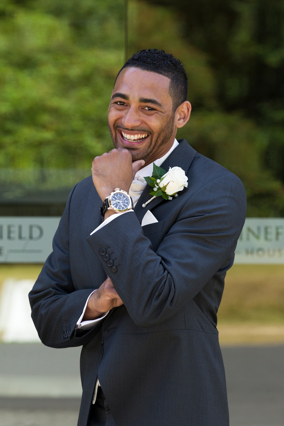 Fun Grooms portrait - Rhinefield House Hotel in the New Forest