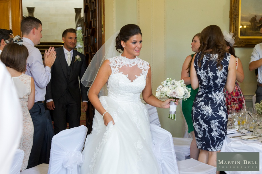 Bride and Groom enter wedding breakfast at Northcote House