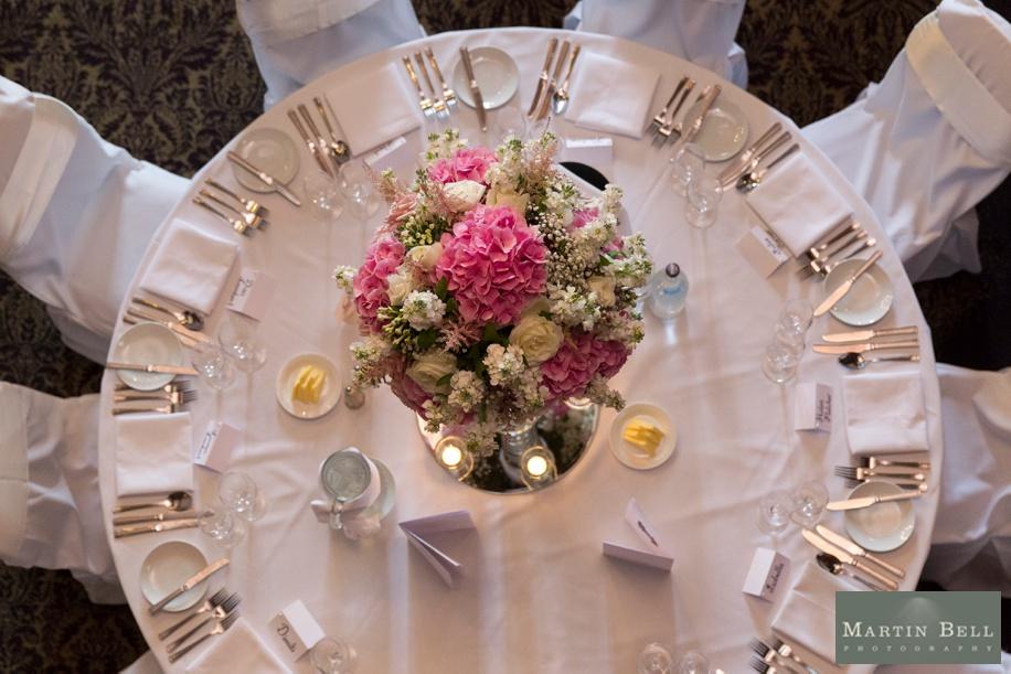 Rhinfield House wedding breakfast ideas - Pink centre pieces