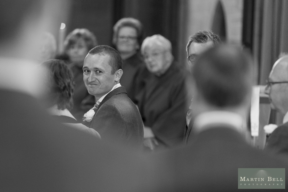 Groom seeing his Bride for the first time - Rhinefield House wedding photography