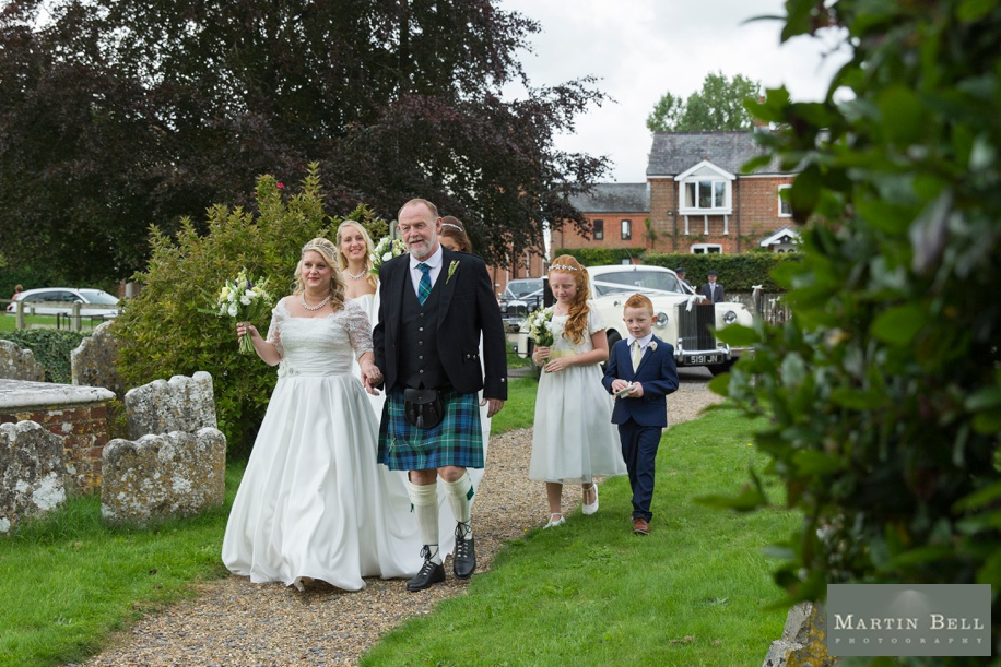 Bride arriving at Owslebury church