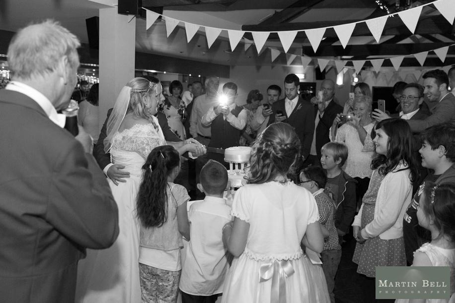 Cutting the wedding cake at East Horton Golf Club