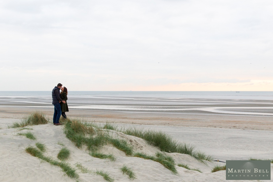 Engagement photo shoot on West Witterings Beach at Sunset