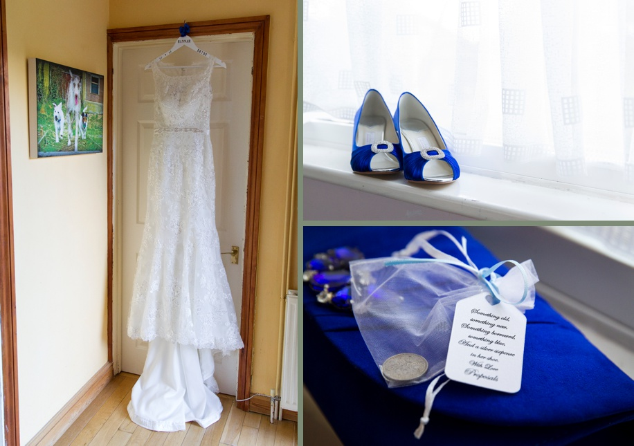 Wedding dress with royal blue accessories