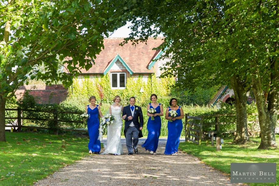 Bride arriving for her Tithe Barn wedding