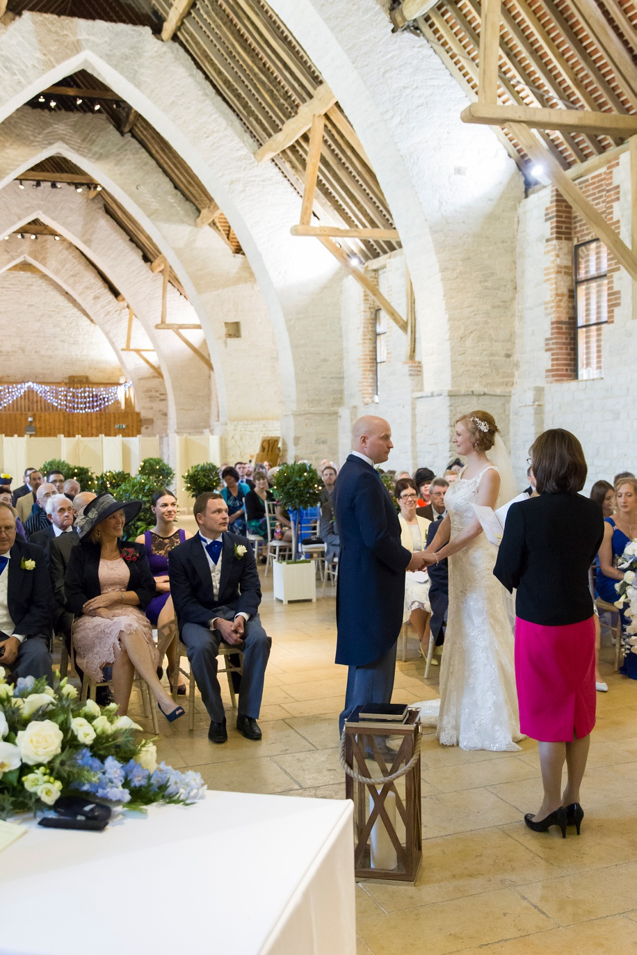 wedding ceremony at Tithe Barn in hampshire