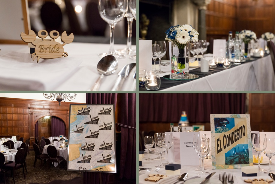 Scuba diving themed wedding detail ideas