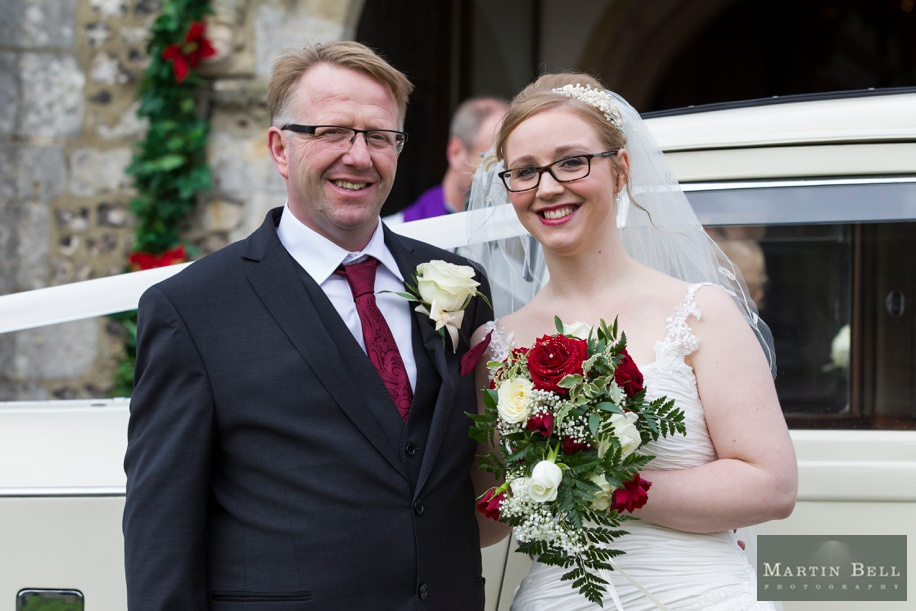 Hampshire documentary wedding photography at St Peters Church in Bishops Waltham - Bride and Father of the Bride outside church before wedding