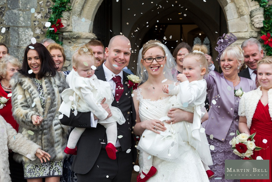 Confetti photograph at St Peters Church in Bishops Waltham