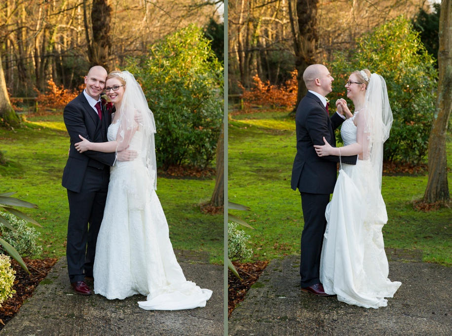 Potters Heron wedding photographs - Bride and Groom time alone on a wet day