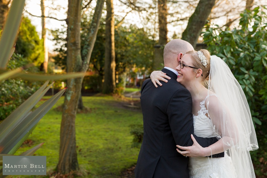 Potters Heron wedding photographs - Bride and Groom time alone at sunset in winter