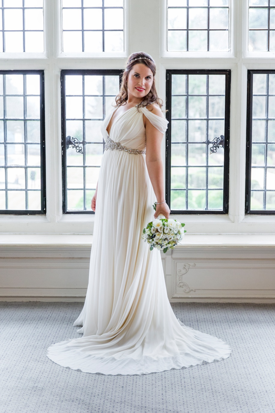 Stunning Bridal portrait in the Walker Suite at Rhinefield House