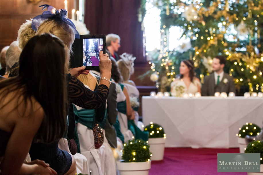 Rhinefield House wedding photography at Christmas and winter - Grand Hall ceremony