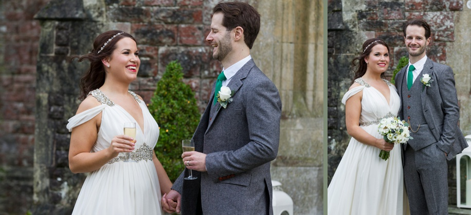 Happy Bride and Groom on their wedding day at Rhinefield House