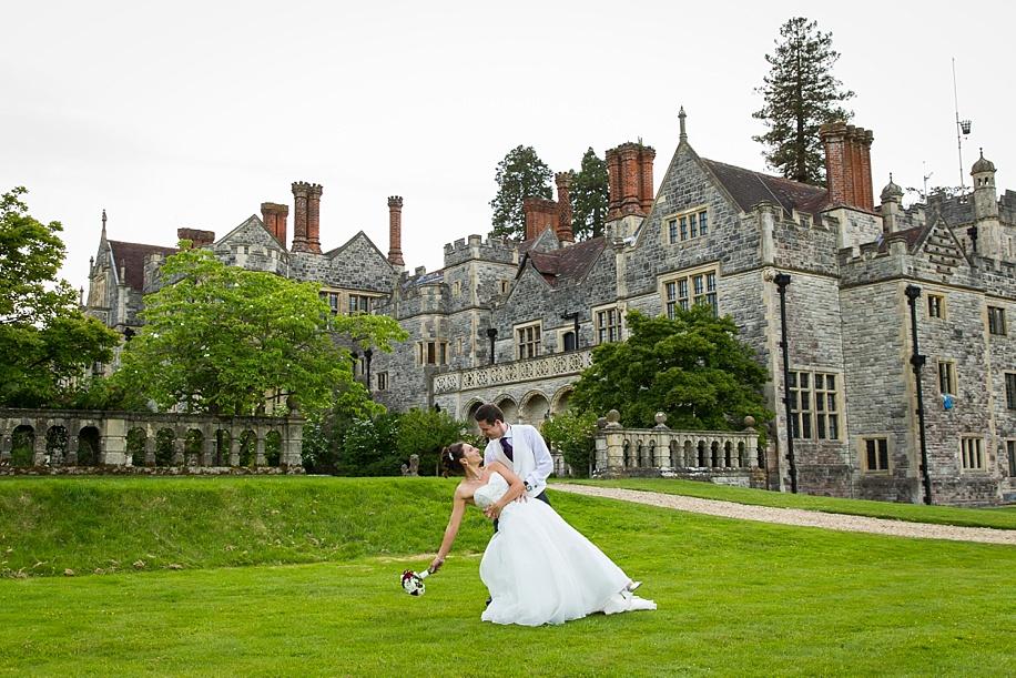 Wedding photographs at Rhinefield House at Sunset