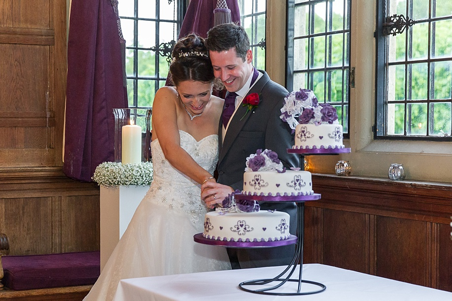 Cake cutting on a wedding day