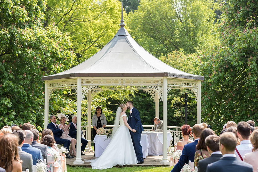 Outdoor ceremony Lainston House wedding photography by award winning Hampshire wedding photographer, Martin Bell Photography