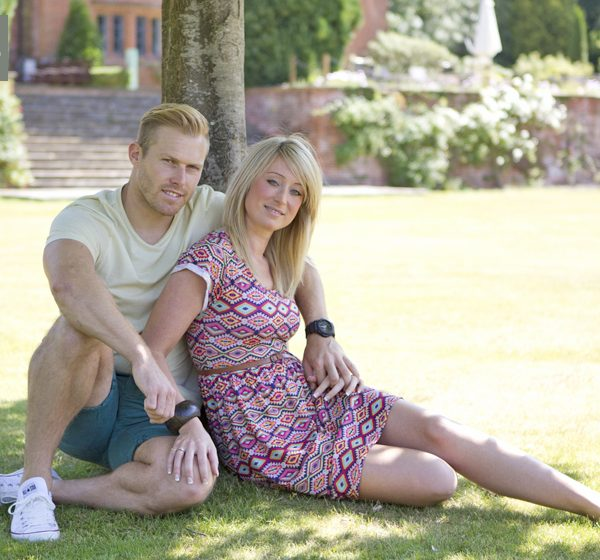 Engagement photo shoot with Sarah and Ben at DeVere New Place, Hampshire