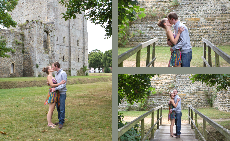 Engagement photo shoot with Vicky and Mick at Portchester Castle, Hampshire