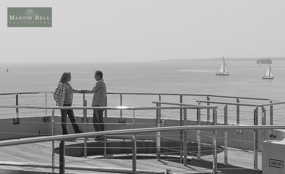 Spitbank Fort wedding photographer, Unique wedding venue in Hampshire, engagement photographs at Spitbank Fort, by Hampshire wedding photographer Martin Bell Photography