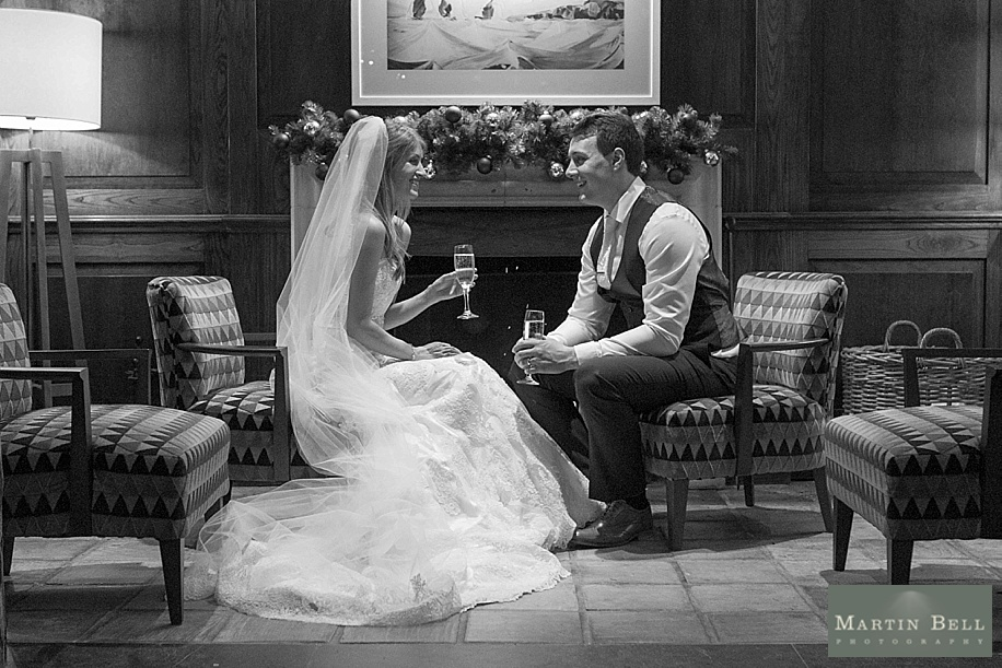 Becky and Alex Hill's Winter Wedding photos at Portchester Castle and The Solent Hotel by Hampshire wedding photographer Martin Bell Photography