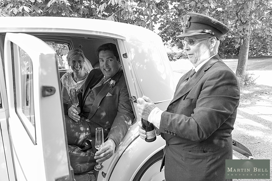 Vintage Rolls Royce wedding car at All Saints, Chalbury - Dorset wedding photographers by Martin Bell Photography