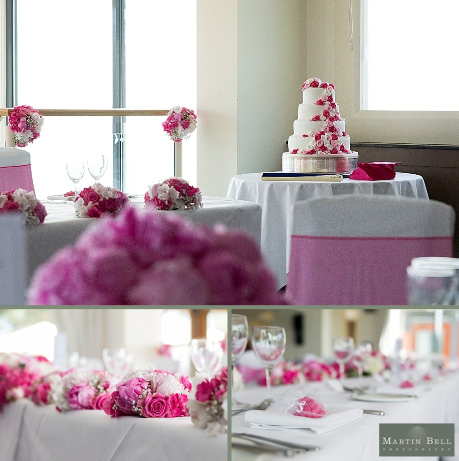 Pink colour scheme wedding at Harbour Heights Hotel by Dorset wedding photographers, Martin Bell Photography