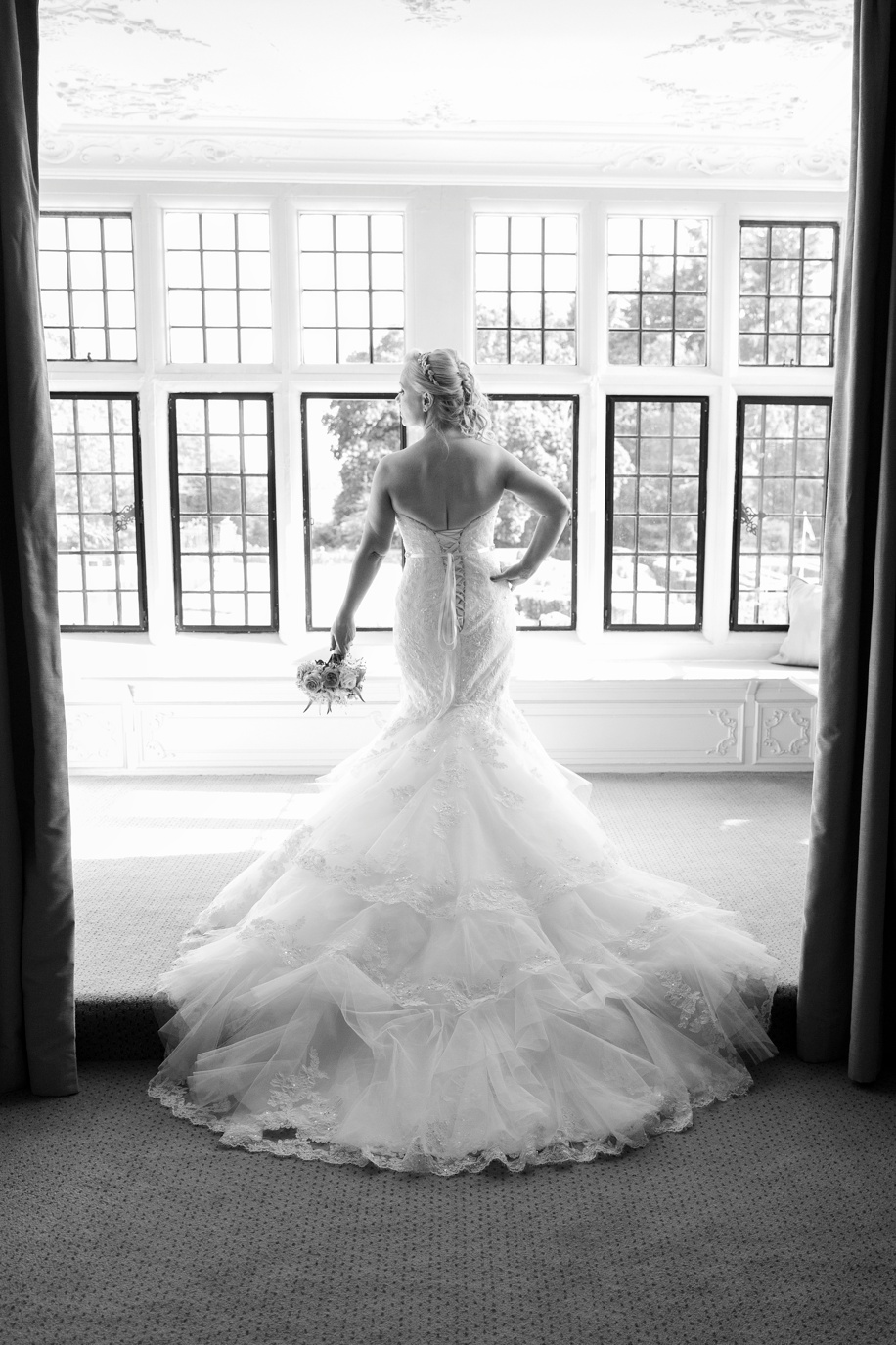Beautiful Bride portrait photograph in the Walker Suite during an intimate Rhinefield House wedding