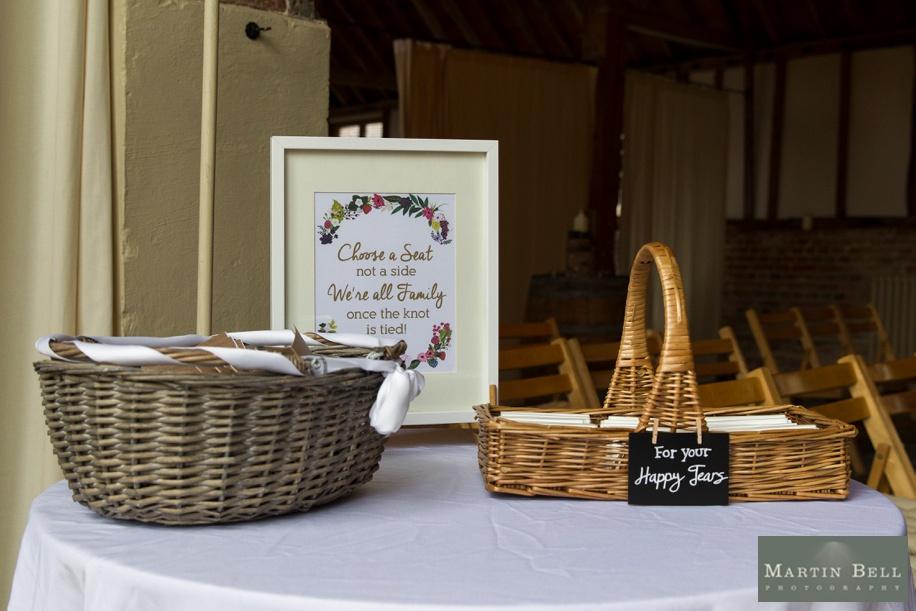 cool Buriton Manor Barn wedding ideas - tissues for guests