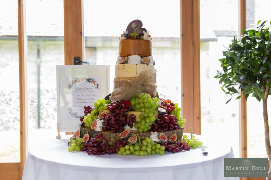 A wedding cheese cake at The Manor Barn in Buriton