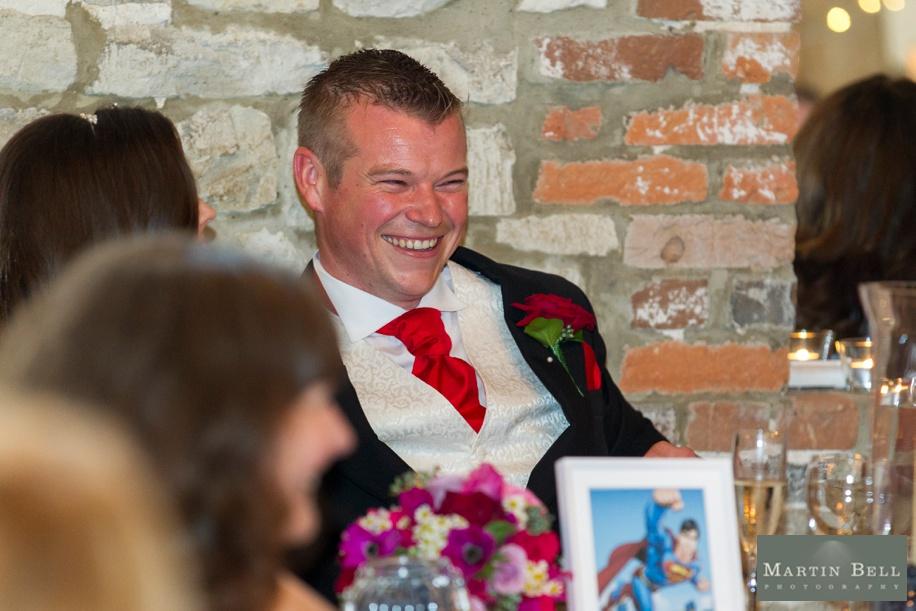 Hampshire wedding photography - Manor Barn in Buriton wedding photography - Groom during speeches