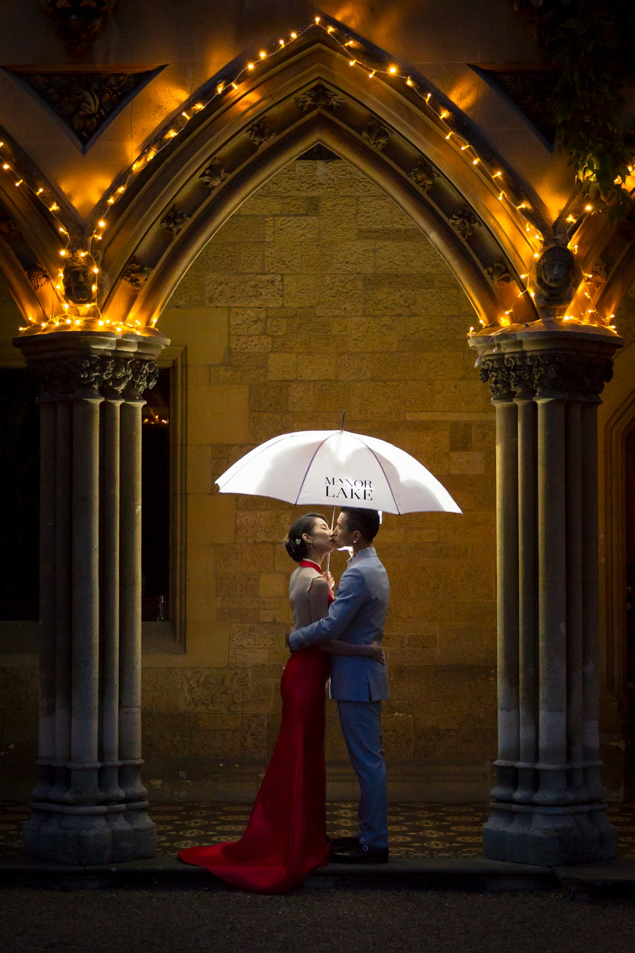 Elegant Bride and Groom night portrait at a Manor by the Lake wedding