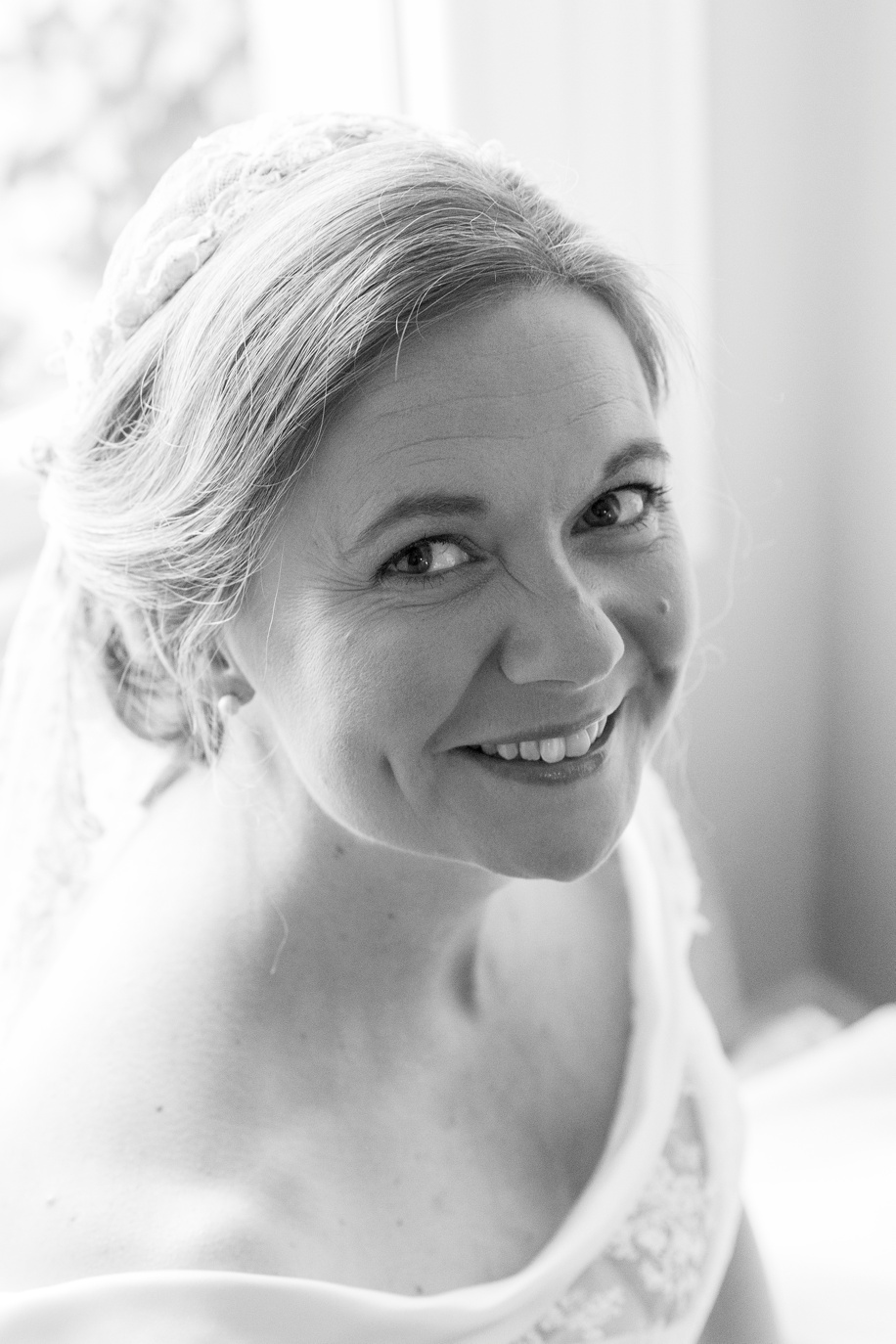Bridal portrait in Winchester by Hampshire wedding photographer, Martin Bell Photography