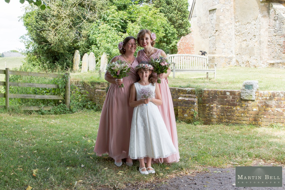 Bridesmaids portrait ideas at a church - marquee wedding in Winchester - Hampshire wedding photographer - Martin Bell Photography