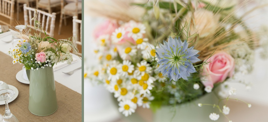 Marquee wedding ideas in Winchester Hampshire - wild flower centre pieces