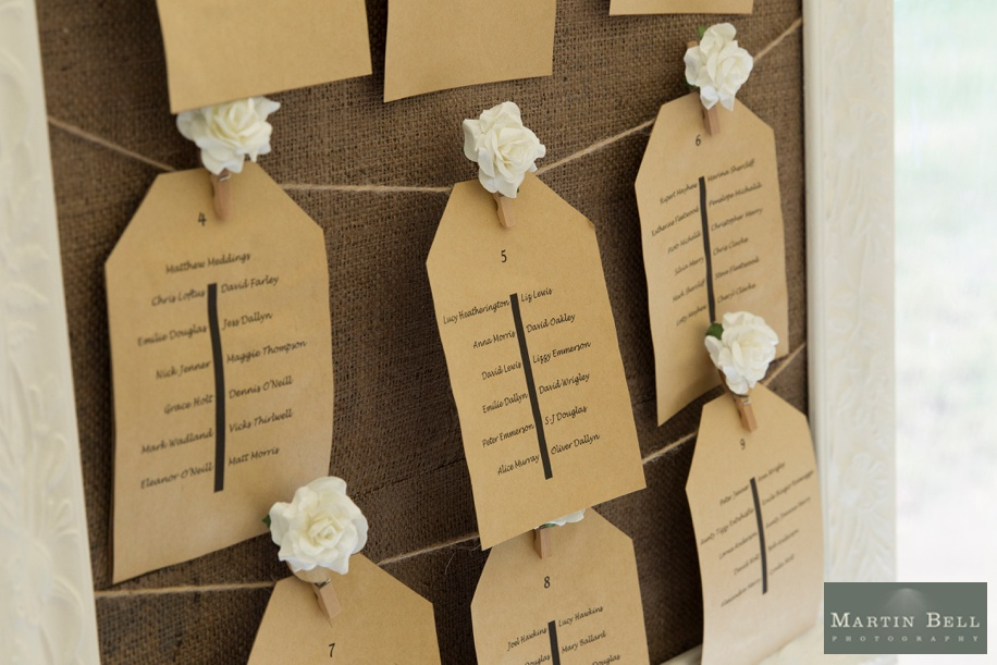 Marquee wedding ideas in Winchester Hampshire - hessian seating plan