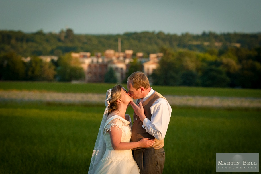 Marquee wedding - Bride and Groom photographs at Sunset