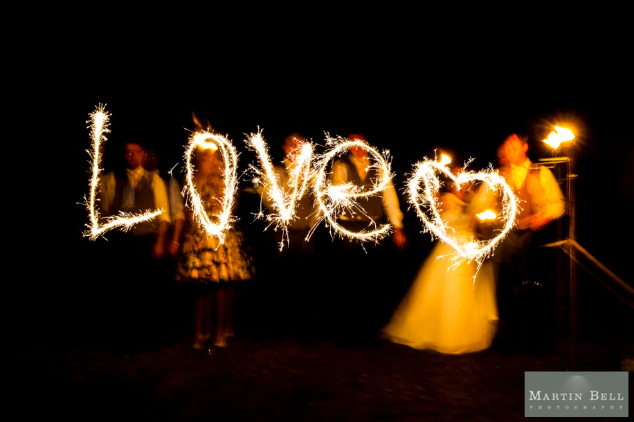Fireworks  and sparklers wedding photographs at a marquee wedding in Winchester by Martin Bell Photography